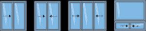 Modèles types de fenêtres coulissantes hybrides