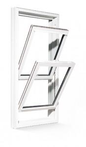 Exemple de fenêtres à guillotine double en PVC