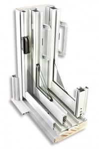Détail mécanisme de porte patio en aluminium